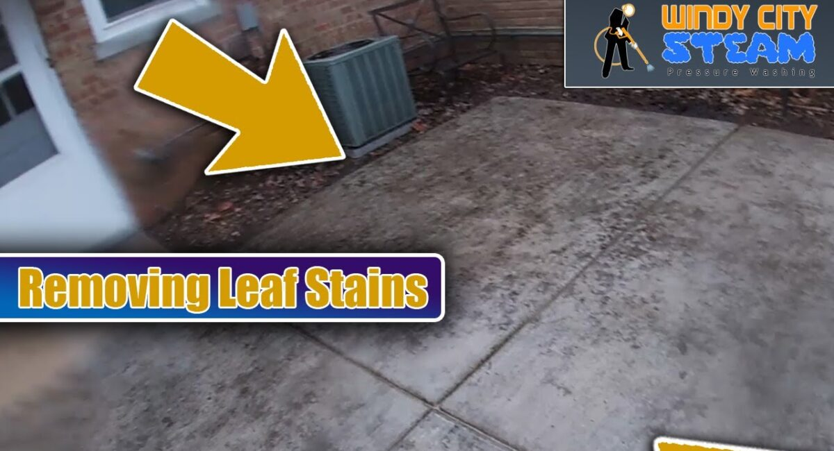 removing leaf stains from concrete